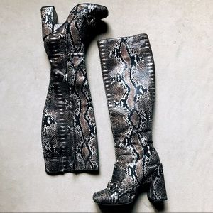 Jeffrey Campbell Irridescent Snakeskin Knee Boots